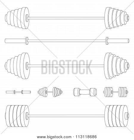 Sports Equipment Of Thin Lines, Vector Illustration.