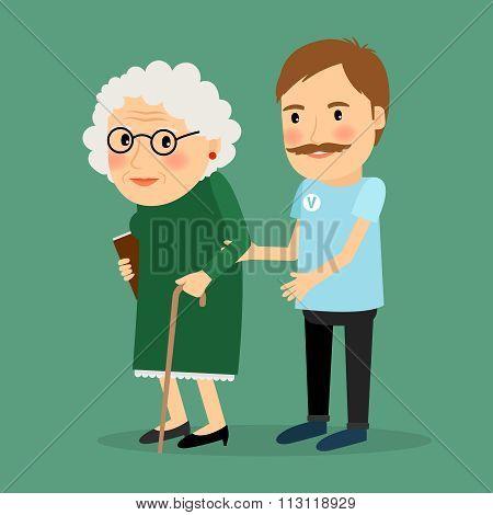 Volunteer man caring for elderly woman