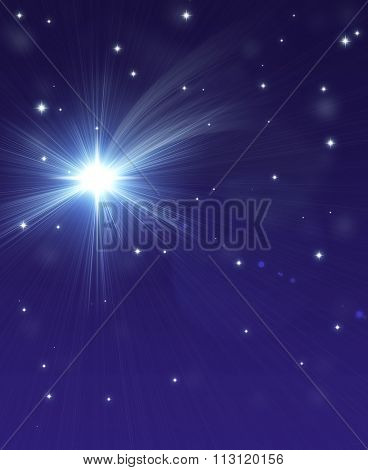falling star, on a dark starry background