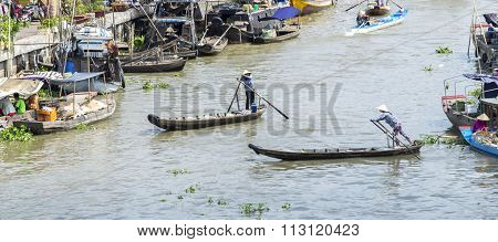 Humans living on the Mekong River