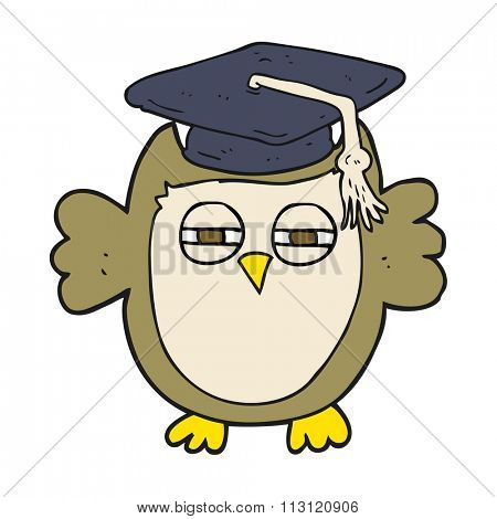 freehand drawn cartoon clever owl