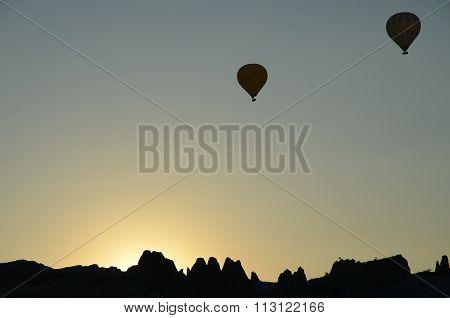 Hot-air balloons in the sky over Cappadocia