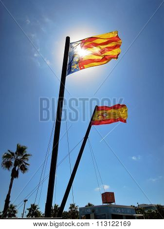 Flag of Valencia and Spain