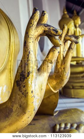 Buddha statue's hand Generally in Thailand