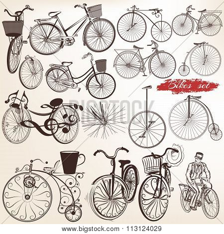 Set Of Vector Engraved Bicycles For Design
