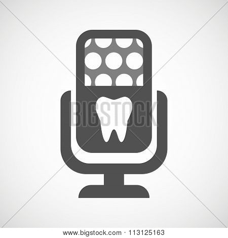 Isolated Microphone Icon With A Tooth