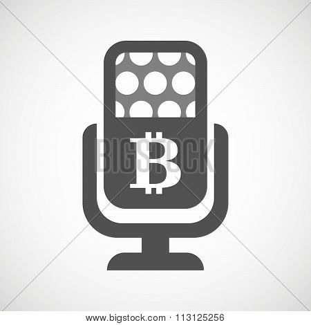 Isolated Microphone Icon With A Bit Coin Sign