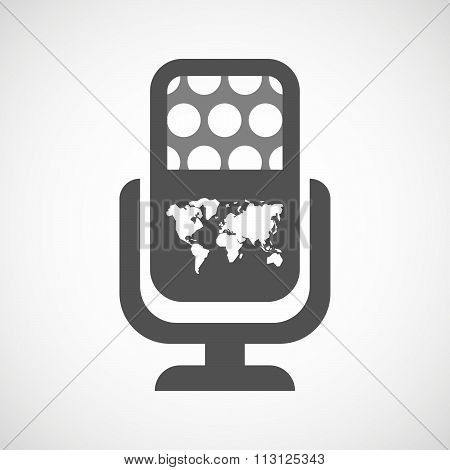 Isolated Microphone Icon With A World Map