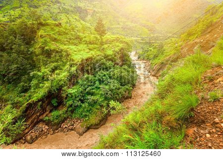 Beautiful river landscape and mountains in Nepal, Annapurna trekking