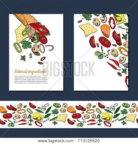 Template with ingredients for doner kebab wrap. Seamless horizontal pattern brush with vegetables. For your design, announcements, cards, posters, restaurant and cafe menu.