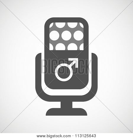 Isolated Microphone Icon With A Male Sign