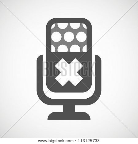 Isolated Microphone Icon With An Irritating Substance Sign