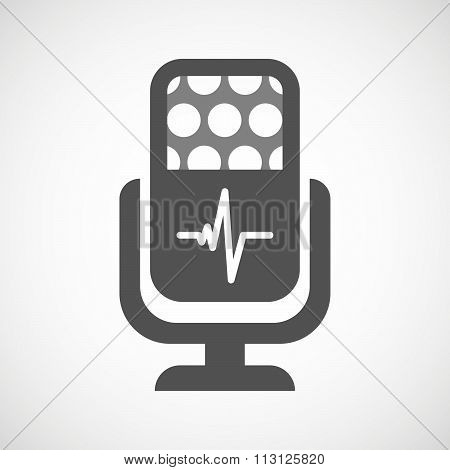 Isolated Microphone Icon With A Heart Beat Sign