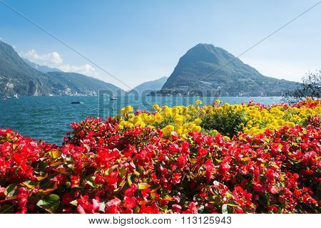 View Of Mount St. Salvatore From Lugano's Park