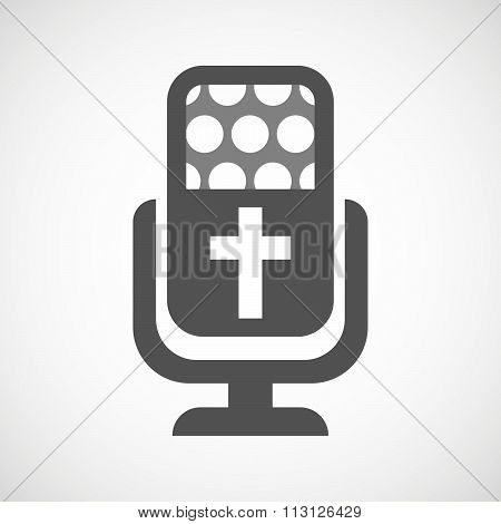 Isolated Microphone Icon With A Christian Cross