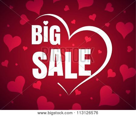 Happy Valentine's Day big sale card with red realistic  banner heart on a red pink background. Vecto