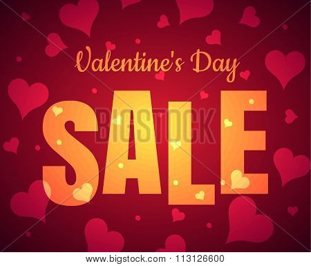 Happy Valentine's Day sale card glowing gold yellow text with red realistic banner with heart it a r