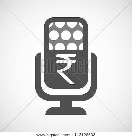 Isolated Microphone Icon With A Rupee Sign