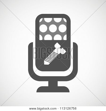 Isolated Microphone Icon With A Screw