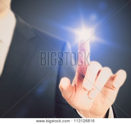 Man Pushing A Buttom Of Digital Interface