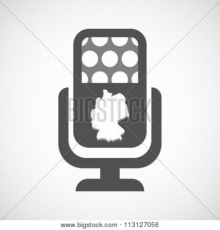 Isolated Microphone Icon With  A Map Of Germany