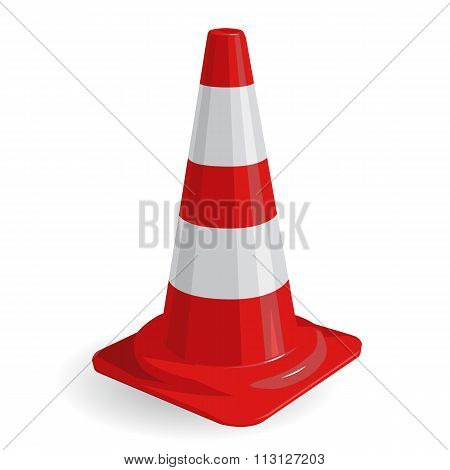Nice classical red plastic traffic cone with white stripes on white