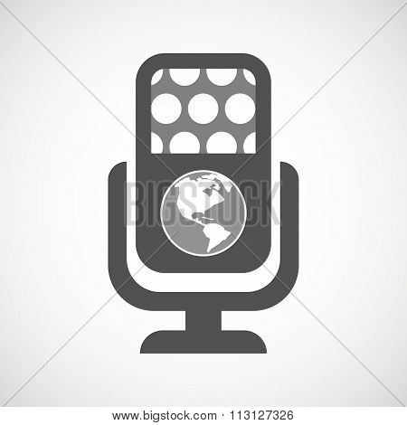 Isolated Microphone Icon With An America Region World Globe