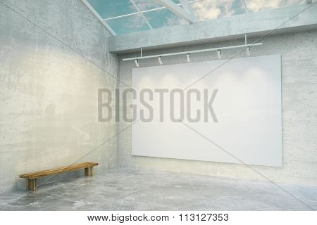 Blank White Poster In Loft Room With Concrete Floor And Wooden Bench, Mock Up