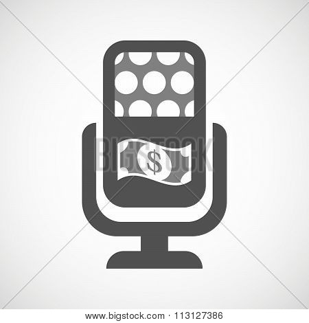 Isolated Microphone Icon With A Dollar Bank Note