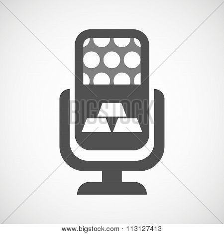 Isolated Microphone Icon With Three Gold Bullions