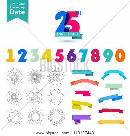 Vector set of anniversary numbers design. Create your own icons, compositions with ribbons, dates an