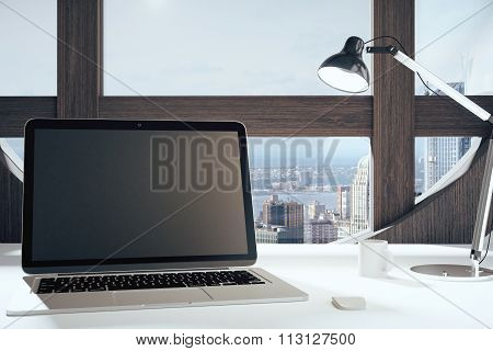 Black Blank Laptop Screen With Lamp In American Style Room With Round Window With City View, Mock Up