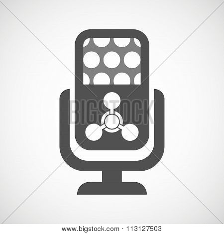 Isolated Microphone Icon With A Chemical Weapon Sign