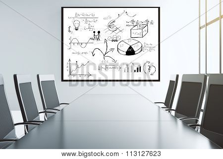 Business Scheme On The Wall In Conference Room With Big Chairs