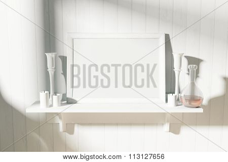 Blank White Picture Frame With Candlesticks On White Shelf At Sunrise, Mock Up