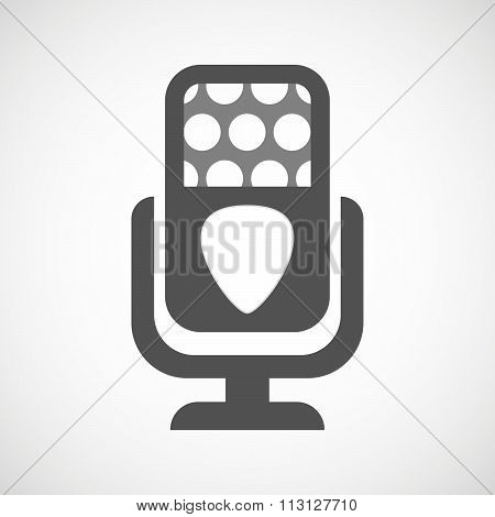Isolated Microphone Icon With A Plectrum