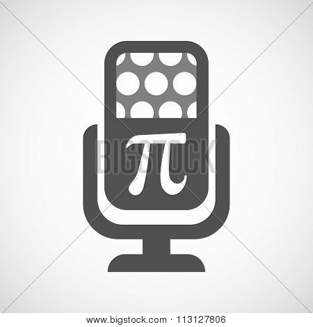 Isolated Microphone Icon With The Number Pi Symbol