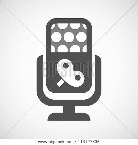 Isolated Microphone Icon With A Toy Crank
