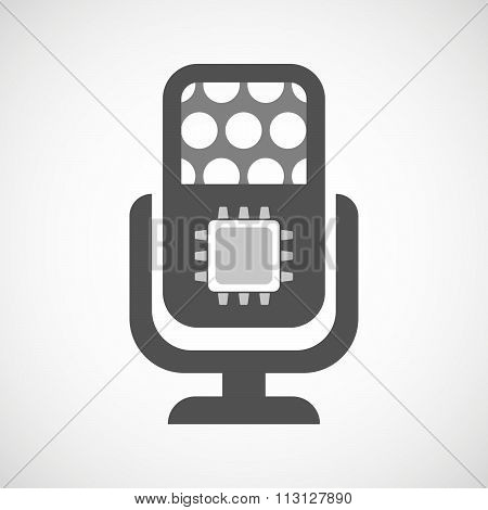 Isolated Microphone Icon With A Cpu