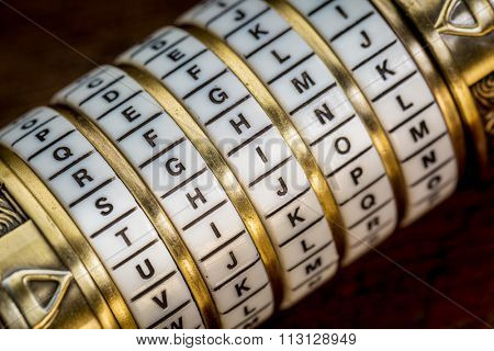 think word as a password to combination puzzle box with rings of letters