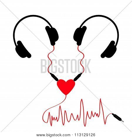 Two Headphones. Earphones Couple Audio Splitter Adapter Heart. Red Music Wave Cord. Love Greeting Ca