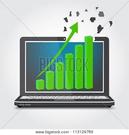 Laptop With Graphics, The Arrow Splits Screen Vector Illustr