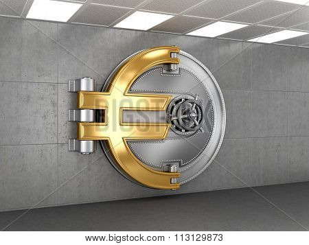 Business Abstract Background; Door Of A Vintage Locked Safe In A Bank Vault Retail Security
