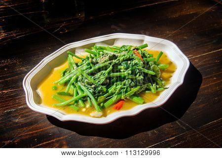Chayote Vegetable Fried Thai Food