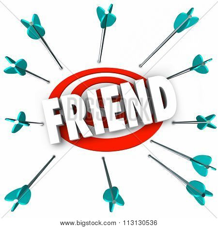 Friend word symolizing friendship with arrows targeting companionship