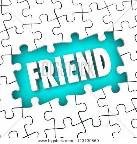 Friend word symbolizing friendship in a puzzle piece hole to illustrate completing a challenge to find a colution