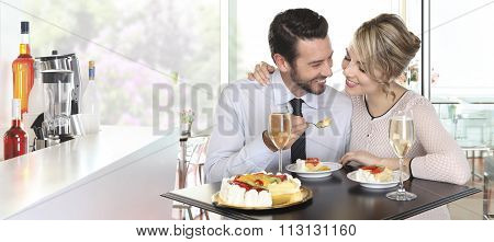 Happy Couple Date At The Bar With Wine And Fruit Cake, Love Concept