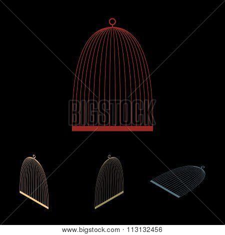 Bird cage icon set