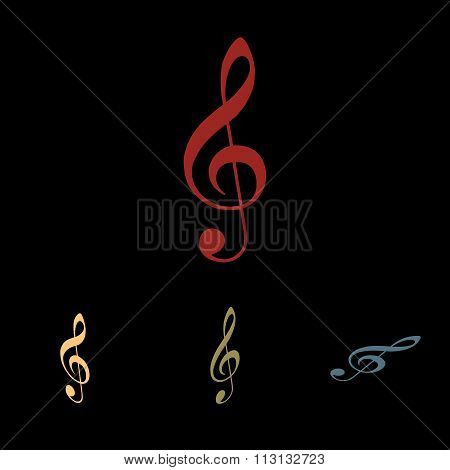 Violine clef icon set