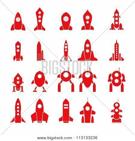 Set Of 20 Vector Cartoon Rocket Silhouettes Isolated.